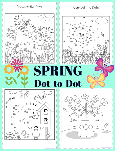 SPRING Dot to Dot Printables