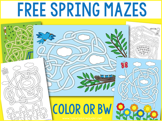 Spring Mazes for Kids