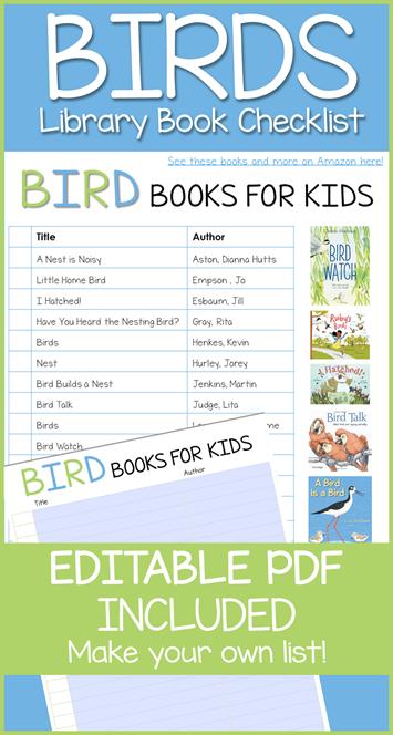 Bird Book Editable Library Checklist