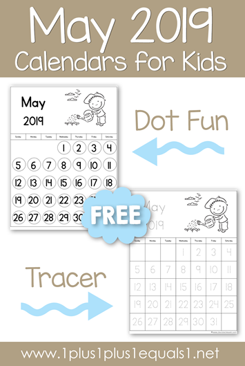 May 2019 Calendars for Kids - 1+1+1=1
