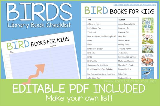 Bird Book Editable Book Checklist