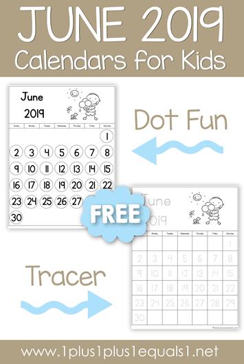 June 2019 Calendars for Kids - 1+1+1=1
