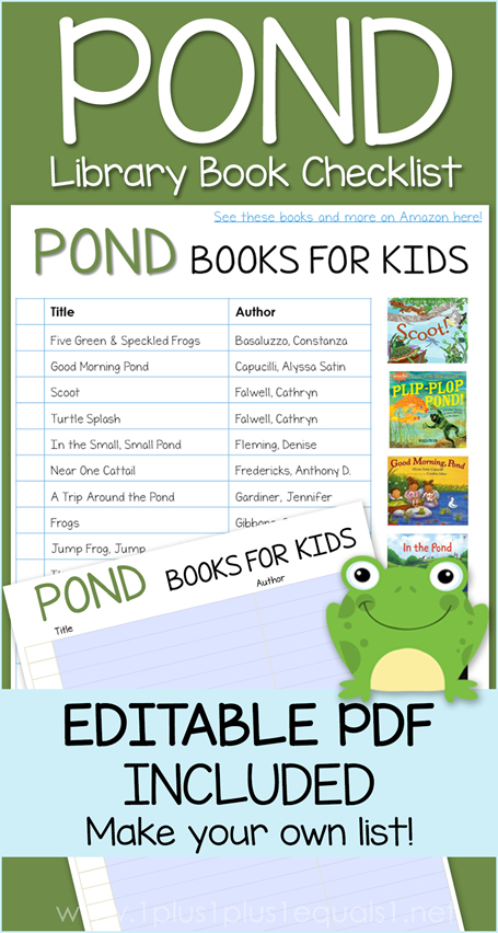 Pond Life Books Editable Library Checklist
