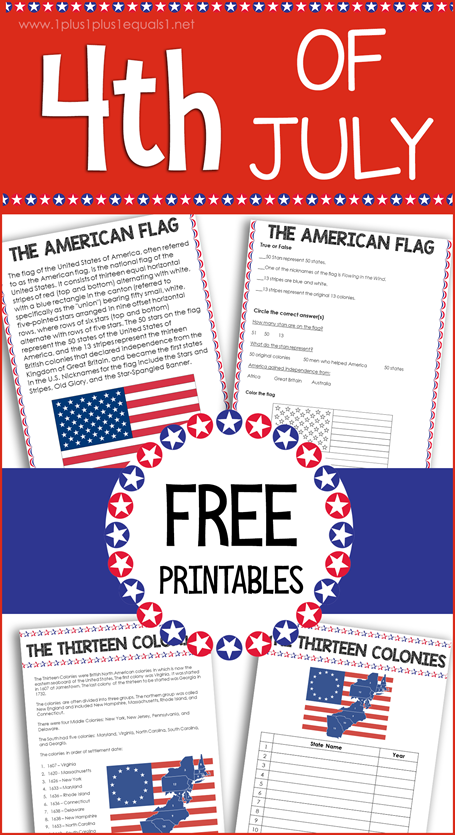 Free Independence Day 4th of July Printables