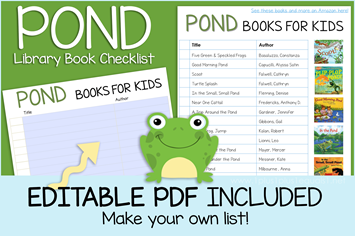 Pond Life Books Editable Book Checklist